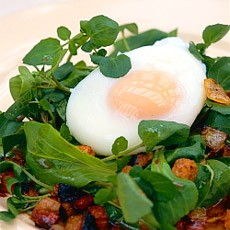 Warm Spinach Salad with Poached Eggs, Frizzled Kabaños and Bacon