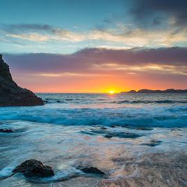 Sunset in San Francisco by Sebastian Holzapfel - Landscapes Sunsets & Sunrises ( sonnenuntergang, 2014, baker beach, marshall beach, san francisco, usa )