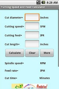 Turning Speed and Feed Calc - screenshot
