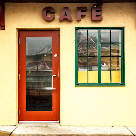 The cafe by Brian Butters - Buildings & Architecture Public & Historical ( colors, maryland, cafe, yellow, stucco, art deco, glen echo park, historic )