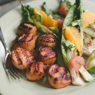 Grilled Sea Scallops with Grilled Romaine and Citrus Salad
