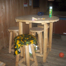 Hand Made Table and Stools by Linda Blevins - Artistic Objects Furniture ( hand made, table, stools )