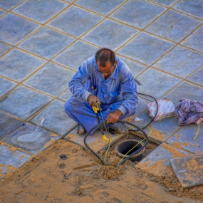 blue collar job by Jigs Crisostomo - People Street & Candids ( #laborers, #workers )