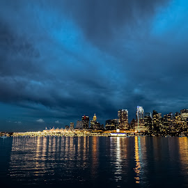 Vancouver Skyline by Stephen Bridger - City,  Street & Park  Vistas ( vancouver skyline, skyline, night photography, canada, city lights, night, travel, night shot, bc, vancouver, travel photography, british columbia )