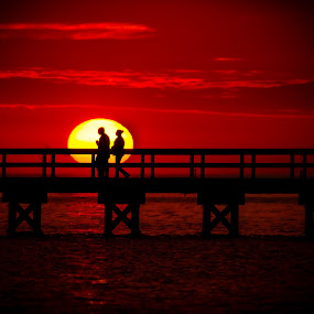 WALKING INTO THE SUN by RomanDA Photography - Landscapes Sunsets & Sunrises ( valentine's day, enthusiasm, passionate, moods, silhouette, postcard, photo, improving mood, love, challenge, red, love is in the air, couple, passion, the mood factory, inspirational )