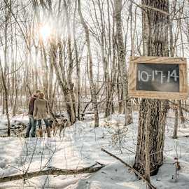 Save the Date! by Lorella Johnson - People Couples ( dogs, snow, forest, couple, date, woods,  )