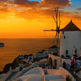 bright evening by Gala Vishnya - Landscapes Travel ( mill, sunset, summer, evening, santorini, island )