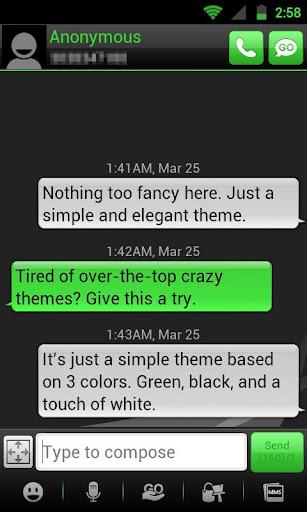 GO SMS THEME - Smooth Green