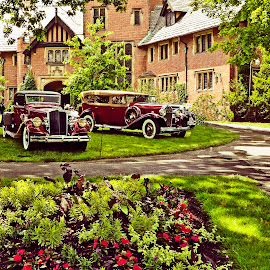 A real classic by Reuss Griffiths - Transportation Automobiles ( classic cars, red & green, auto show, stan hywet, flowers, black and white, animal )