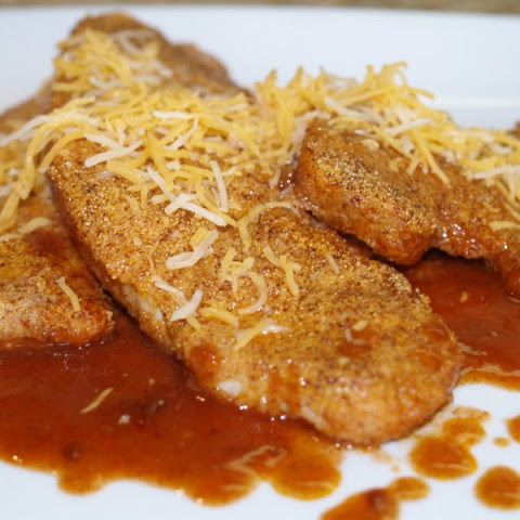 Chili Crusted Turkey Cutlets With Enchilada Sauce