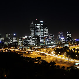 Perth City Skyline by Mark Bentley - City,  Street & Park  Skylines ( cityscapes, skyline, perth, skyscrapers, low light, cityscape, photography, city, nightscape, australia, city lights, nightscapes, western australia,  )