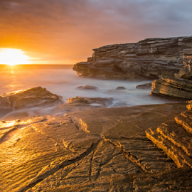 Golden Rock by Francois Malano - Landscapes Sunsets & Sunrises ( francois malano, sunset, ufoto, seascape, landscape, photography )