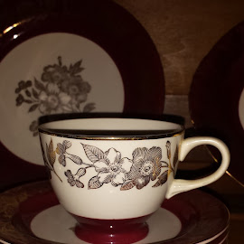 Antique Cup and Saucers by Anne Johnson - Artistic Objects Cups, Plates & Utensils ( saucers, cups, art, glass, artistic objects, antique )