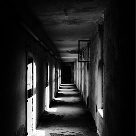 Step into Darkness.. by Daniel Truta - Buildings & Architecture Decaying & Abandoned ( scary, cool, interior, blackandwhite, building, vintage, black and white, art, beautiful, romania, architecture )