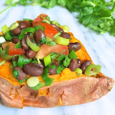 Black Bean Salsa Stuffed Sweet Potatoes