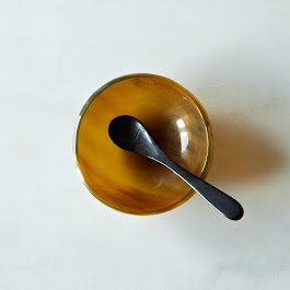 Polished Horn Salt Cellar and Spoon