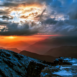 Cloudy Sunset by Arindam Chakrabarty - Landscapes Sunsets & Sunrises ( colour · hill · mountain · color · sunset · pwcfoulweather · weather · cloud )