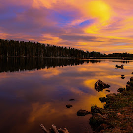 Eggleston Sunset by John Willey - Landscapes Sunsets & Sunrises ( clouds, reflection, sunset, lake,  )