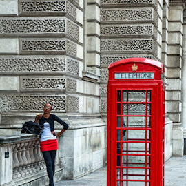 London Red by Sue Niven - People Street & Candids ( uk, red, phone box, woman, street photography )