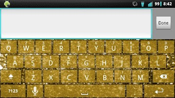 Screenshot of Gold Glitter Keyboard Skin
