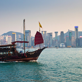 Hong Kong Skyline by Eric Montalban - Landscapes Travel ( hong kong, victoria harbour, sampan boat )