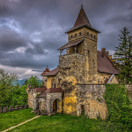 Ostrozac Castle by Nedzad Jusic - Buildings & Architecture Public & Historical ( sky, hdr, grass, dramatic, castle, drama, old building, high dynamic range )