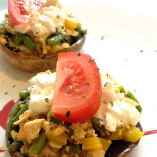 Portobello Mushroom With Scrambled Tofu