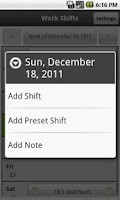 Screenshot of Work Shifts