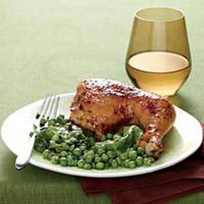 Lemon-Garlic Chicken with Hot Buttered Peas 'n' Lettuce