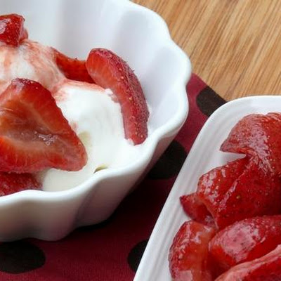 Roasted Strawberries with Vanilla Ice Cream