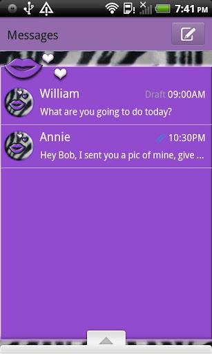 GO SMS THEME LavenderZebra5