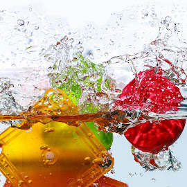 Splash with Colors by Nauman Khan - Abstract Water Drops & Splashes ( orange, water drops, red, splash, green, colors, bubbles, toys, splash water photography )