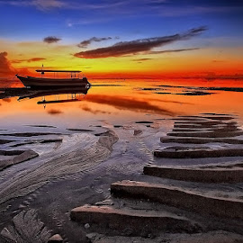 Morning Boat by Ina Herliana Koswara - Landscapes Beaches ( sky, waterscape, sunrise, beach, landscape, boat )