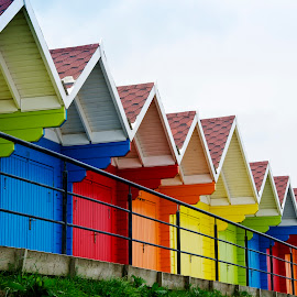 Beach Huts by Andrew Robinson - Buildings & Architecture Other Exteriors ( scarborough, yorkshire, beach huts, beach )