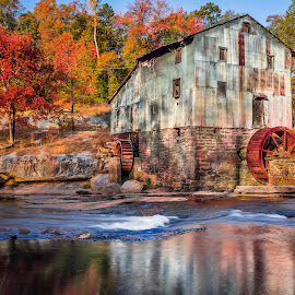 Anderson Mill by Tom Moors - Buildings & Architecture Public & Historical ( anderson mill, spartanburg, foliage, grist mill, fall, tyger river, south carolina, river )