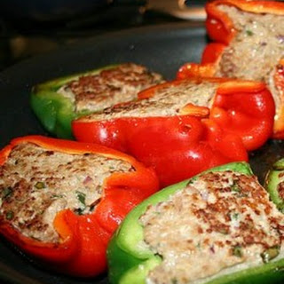 Red and Green Stuffed Bell Peppers