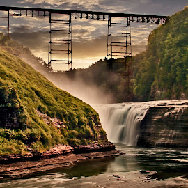 Trestles and Falls by Sandra Hilton Wagner - Landscapes Mountains & Hills ( sky, mountain, train trestle, gorge, waterfall, dusk,  )