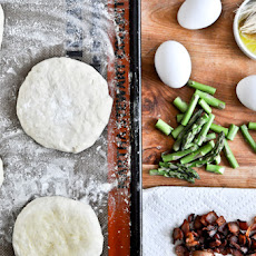 Bacon, Egg + Asparagus Personal Pizzas