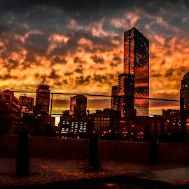 Boston Sunsets by Brian Cunningham - City,  Street & Park  Skylines ( clouds, sunset, buildings, night, cityscape, landscape, photography, city )