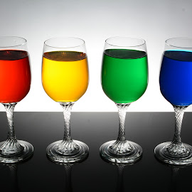 goblets in colors by Rommel Rutor - Novices Only Objects & Still Life ( glasses in colors, liquid, colors, still life, goblets,  )