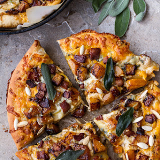 Sweet 'n' Spicy Fall Harvest Pizza w/Roasted Butternut, Cider Caramelized Onions + Bacon.