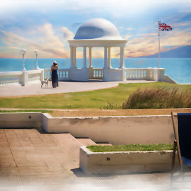 Lady with dog, De La Warr Pavillion, UK by Rodney Tietjen - Digital Art Places ( sunset, de la warr, lady, seacape, painting )