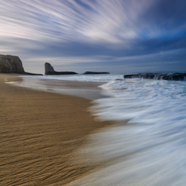 Rush by Paul Judy - Landscapes Beaches ( clouds, davenport, sand, dawn, 4-mile beach, santa cruz )