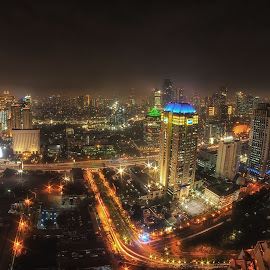 skl #o09 by Tt Sherman - City,  Street & Park  Skylines ( skyline, night photography, glowing, cityscape, nightscape )