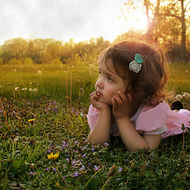 Girl in Field by Kitty Schaub - Babies & Children Child Portraits ( field, girl, sunset, toddler, flower )