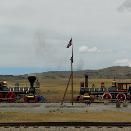 East meets West, Golden spike national monument Utah. by John Dodson - Transportation Trains