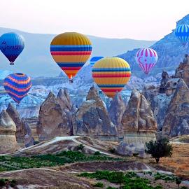 Cappadocia balloons by Nikola Bašić  - Transportation Other ( balloons cappadocia turkey sky old town color nikon foto photo krusevac,  )