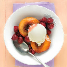 Vanilla-Roasted Peaches with Raspberries
