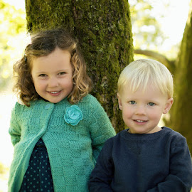 Together by the Tree by Dominic Lemoine Photography - Babies & Children Children Candids ( girl, tree, autumn, boy, outside )
