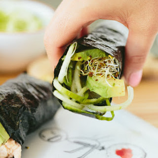 Cucumber-Avocado Tuna Hand Rolls with Sriracha-Ginger Fayo